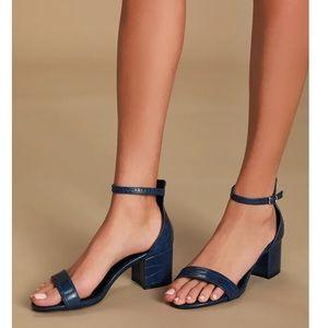 Lulu's Crocodile Embossed Ankle Strap Heel Sandals